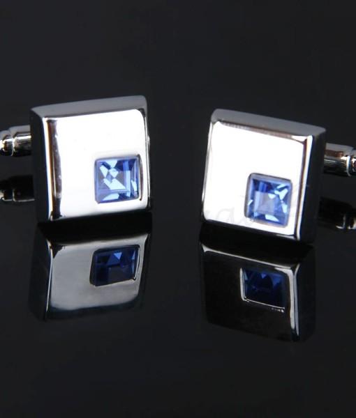 gemelli quadrato cristallo blu